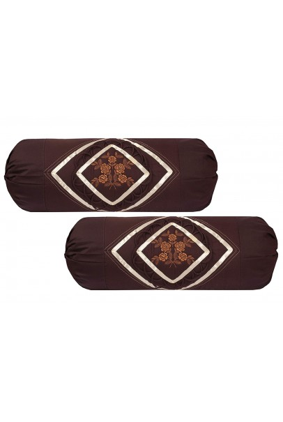 Embroidered Cotton Bolsters Cover (Pack Of 2, Coffee)